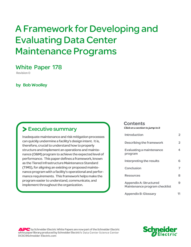 A Framework for Developing and Evaluating Data Centre Maintenance Programs