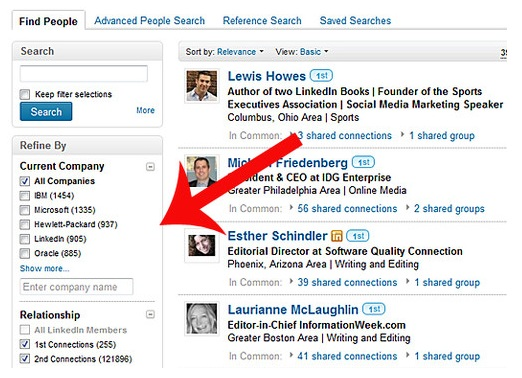 Paid LinkedIn account members can also filter results by groups, ...